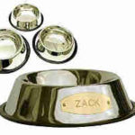 Stainless Steel Pet Bowl with Engraved Brass Plaque